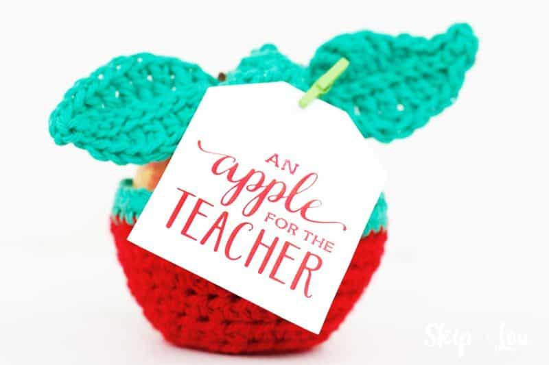 apple cozy with apple for the teacher gift tag