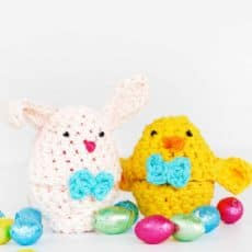 bunny and chick crochet Easter egg covers with chocolate eggs