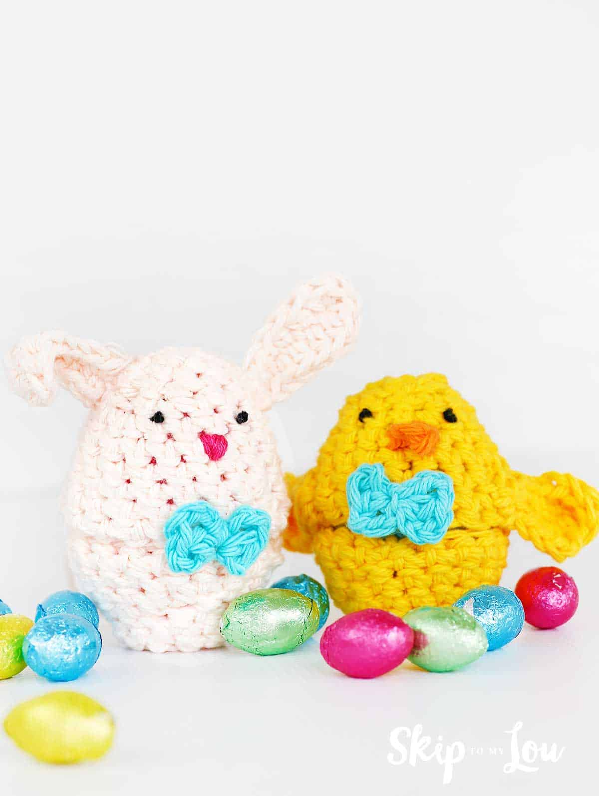 Hanging Easter Chick and Bunny choc cover fits Creme Egg KNITTING PATTERN
