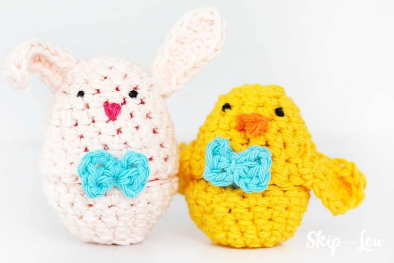crochet bunny and chick eggs