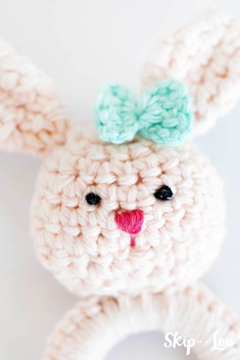 finished crochet bunny teether