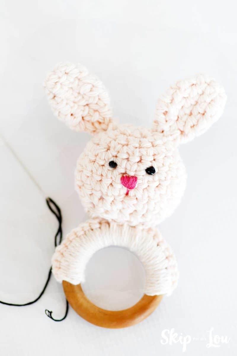 add face on crochet bunny teether