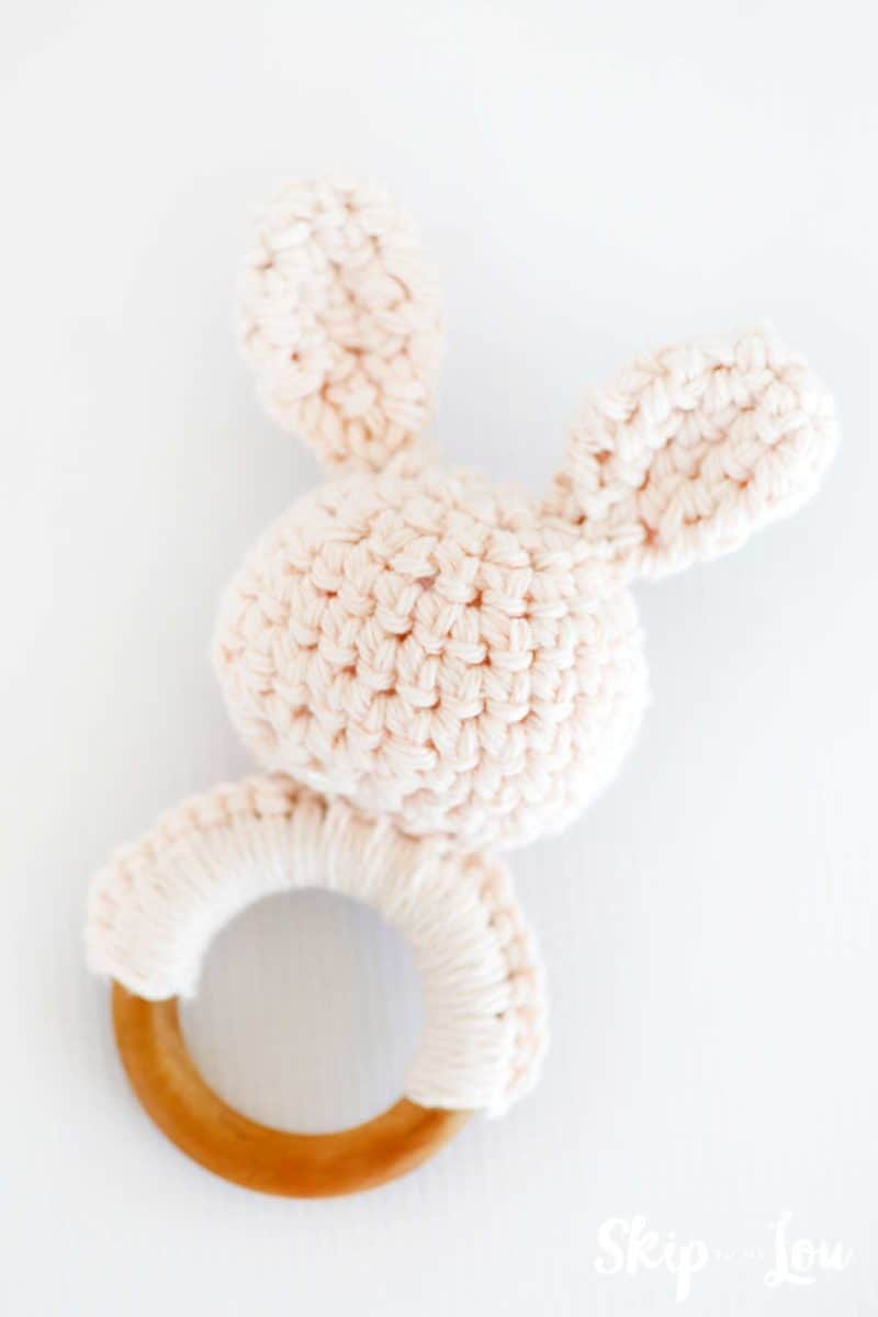 crochet bunny teether sewn together