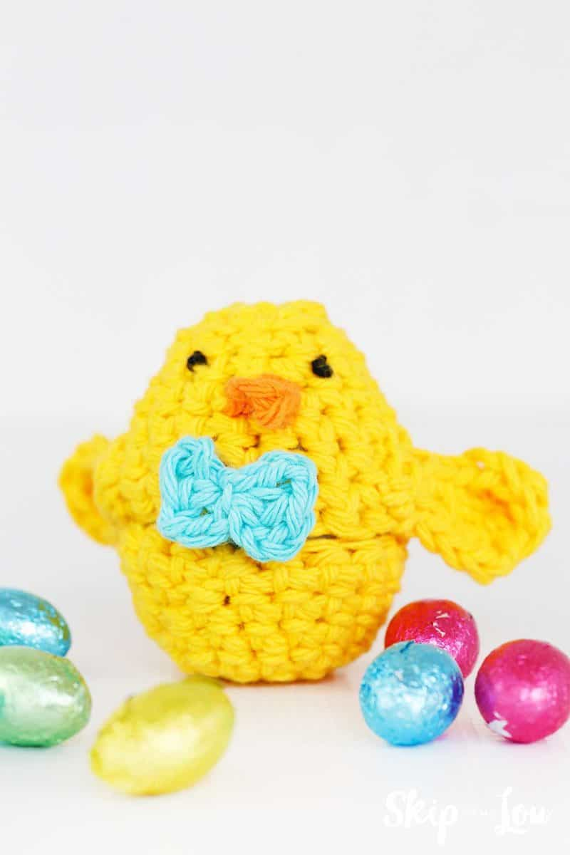 crochet chick egg cover with chocolate eggs