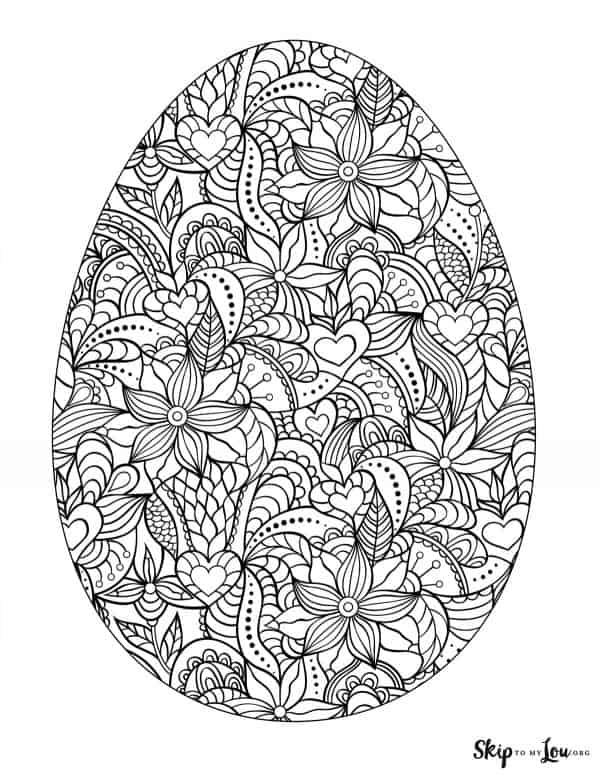 fancy easter egg detailed coloring page
