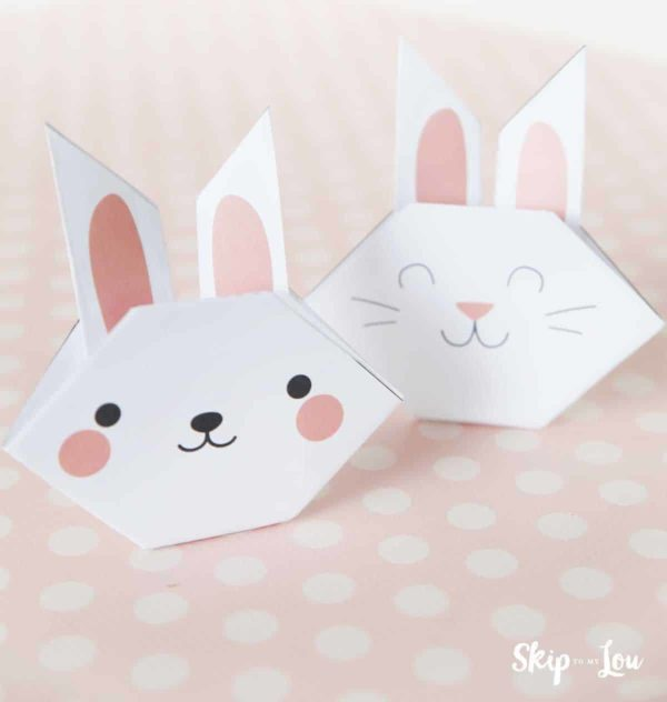 two printable bunnies folded out of paper