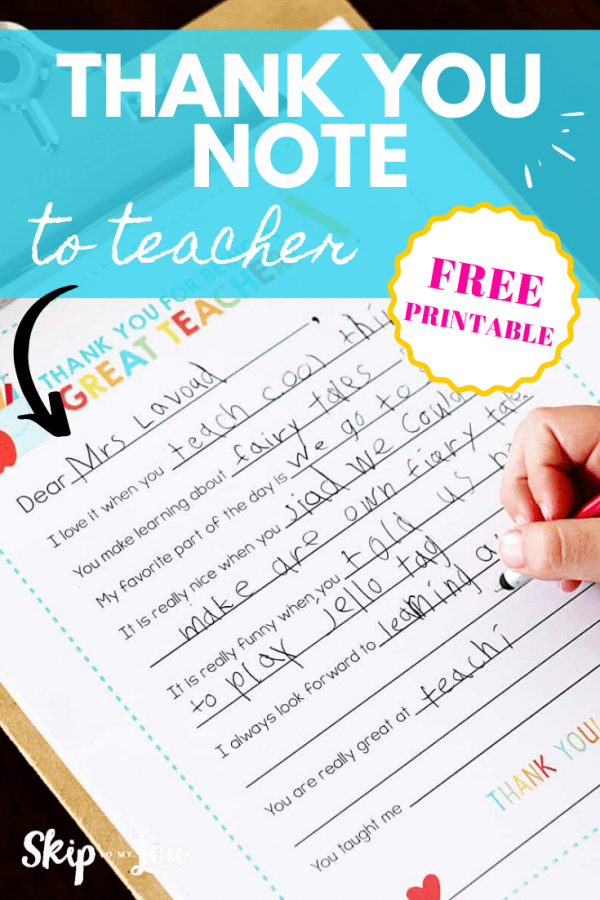 thank you note to teacher PIN
