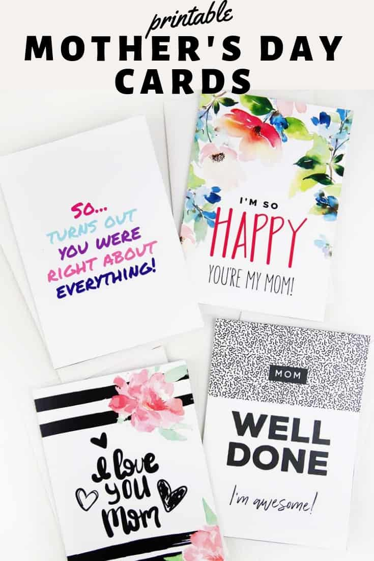 Printable Mother's Day Cards Pinterest Graphic