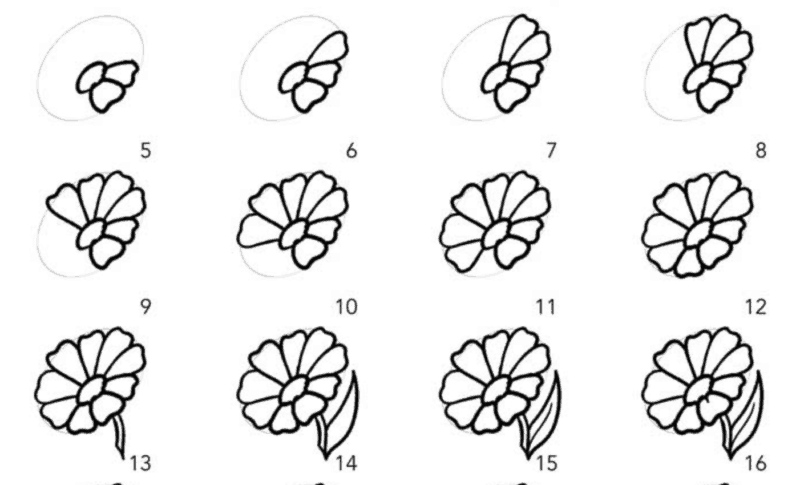easy flower drawing step by step