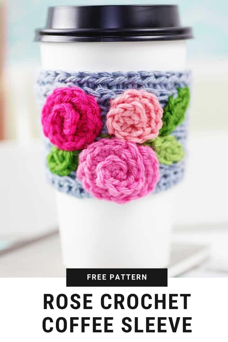 crochet coffee sleeve Pinterest Graphic