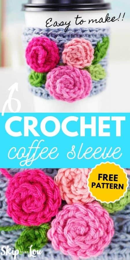 crochet pattern coffee sleeve PIN