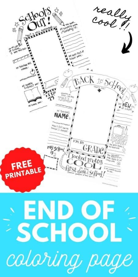 end of school coloring page PIN