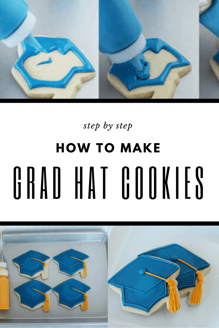 how to make grad hat cookies Pinterest Graphic