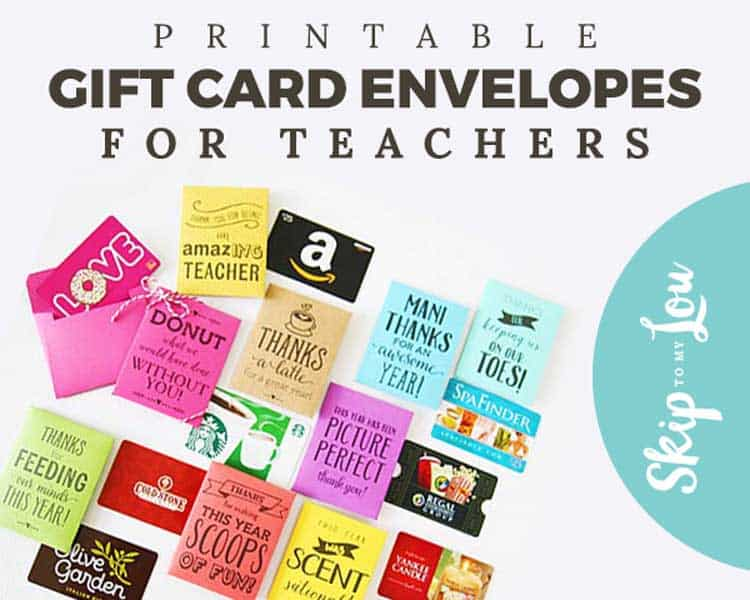 printed gift card holders with gift cards along side