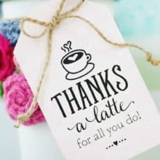 thanks a latte gift tag attached to white take out cup