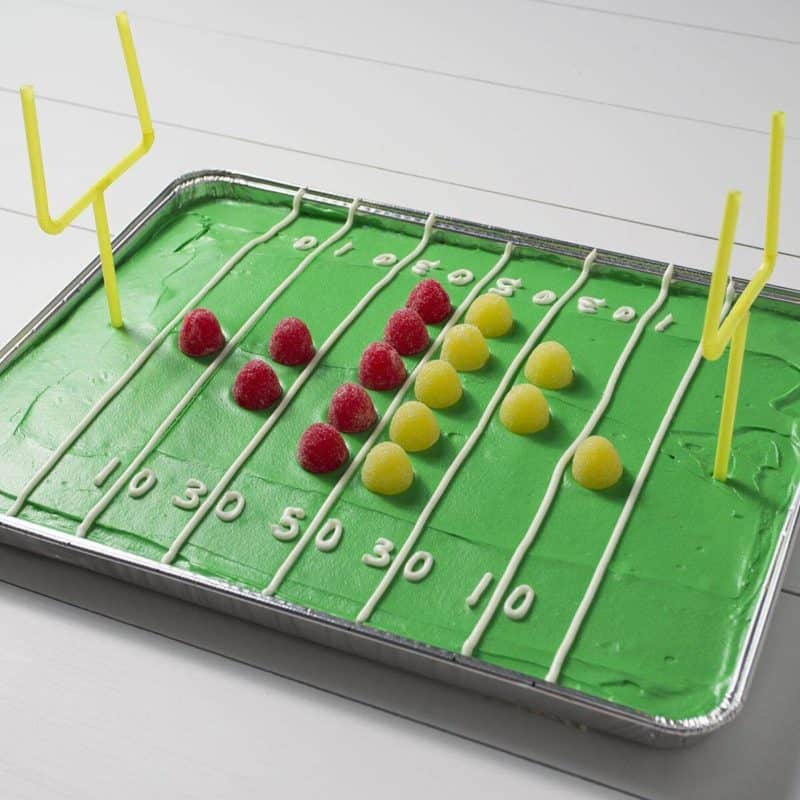 cake decorated like football field