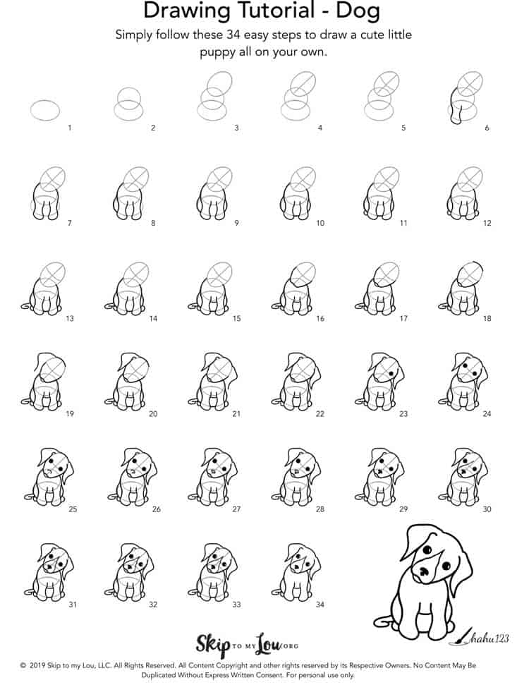 how to draw a dog step by step illustration