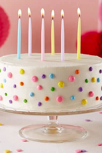 polka dot birthday cake on cake stand