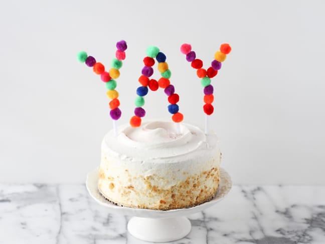pom pom cake topper