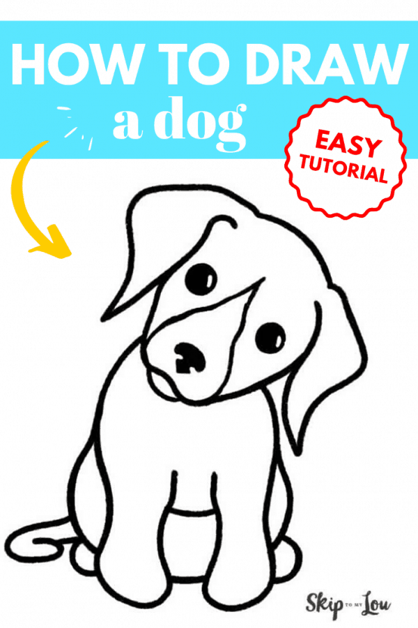 how to draw a dog tutorial PIN