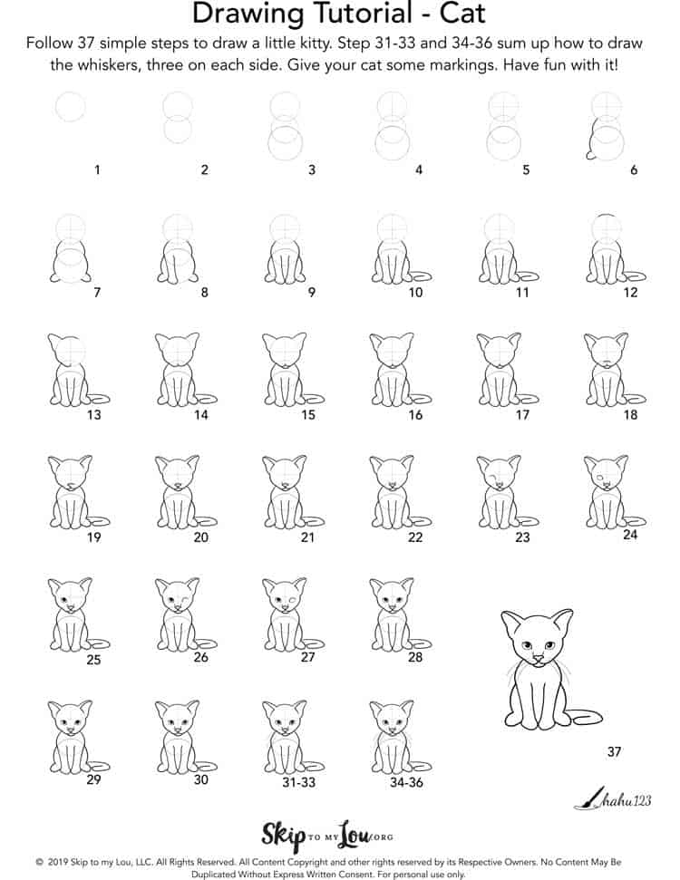 how to draw a cat step by step picture tutorial