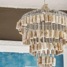 wine cork chandilier