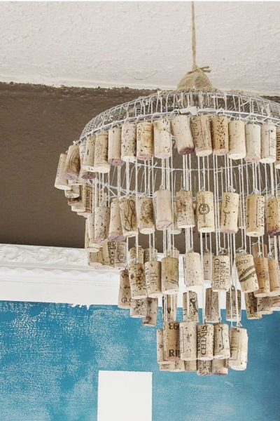 wine cork chandilier