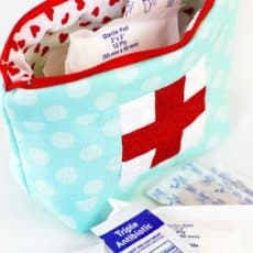 sewn first aid pouch filled with band aids