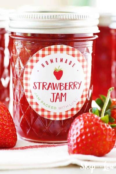 strawberry jam recipe in jar with label
