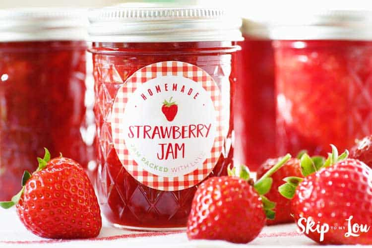 printable canning label for strawberry jam