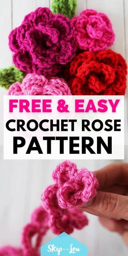 easy crochet rose pattern PIN