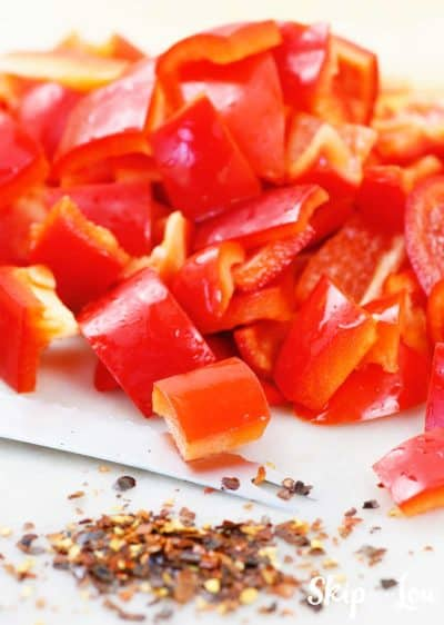 chopped red bell peppers and dried red pepper
