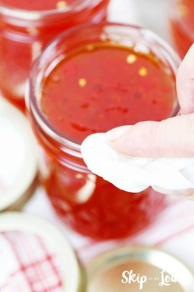 wipe rims of jars