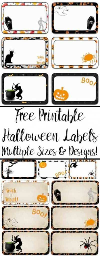 Multiple purpose Halloween printable labels with coffins, mummies, witches and caldrons, pumpkins, black cats and spiders on them.