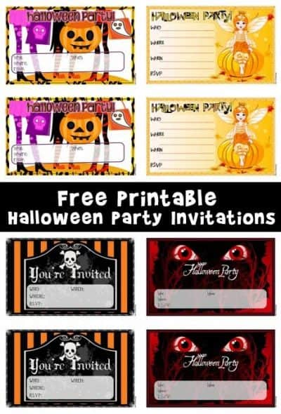 Free printable halloween invitations, there are four pictured to choose from: a Jack-O-Lantern, pumpkin fairy, skull and cross bones, and scary black cat