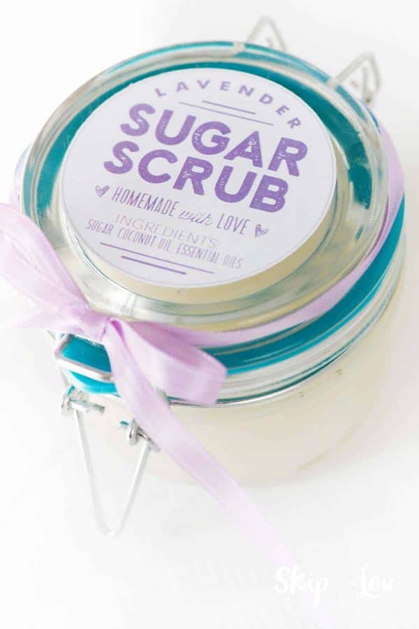 mother's day gift idea lavendar sugar scrub gift jar