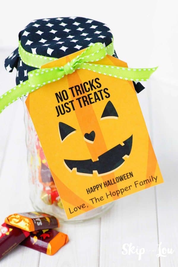 candy in jar with pumpkin gift tag