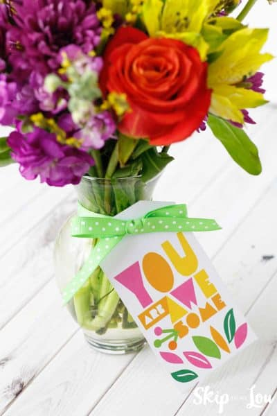 vase of flowers with you are awesome tag