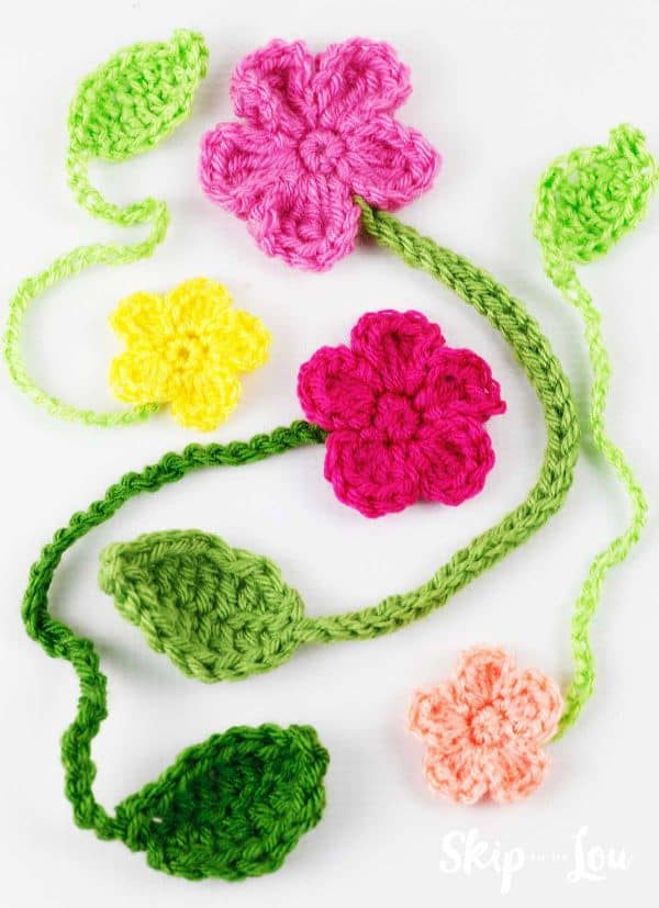 crochet flower bookmarks