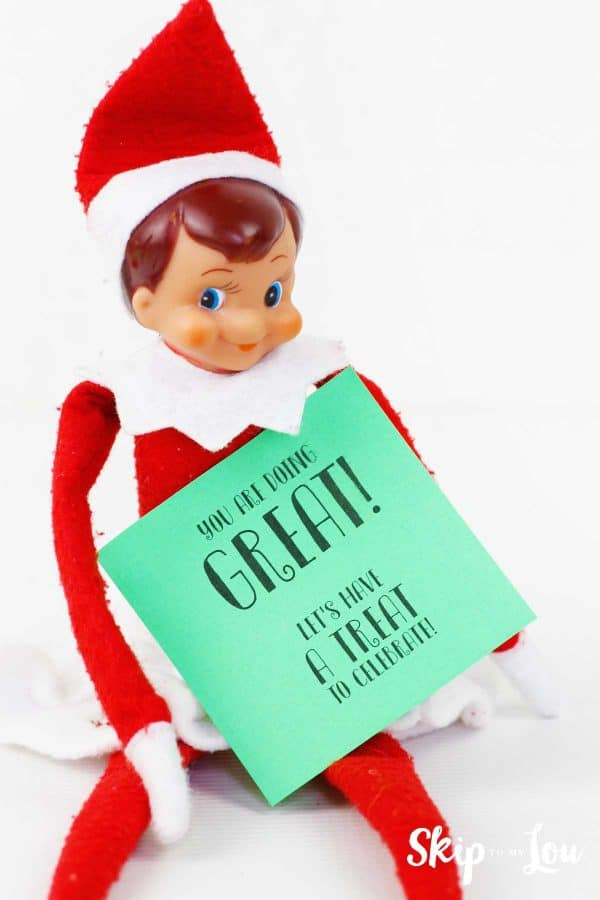 elf on the shelf holding post it note you're doing great