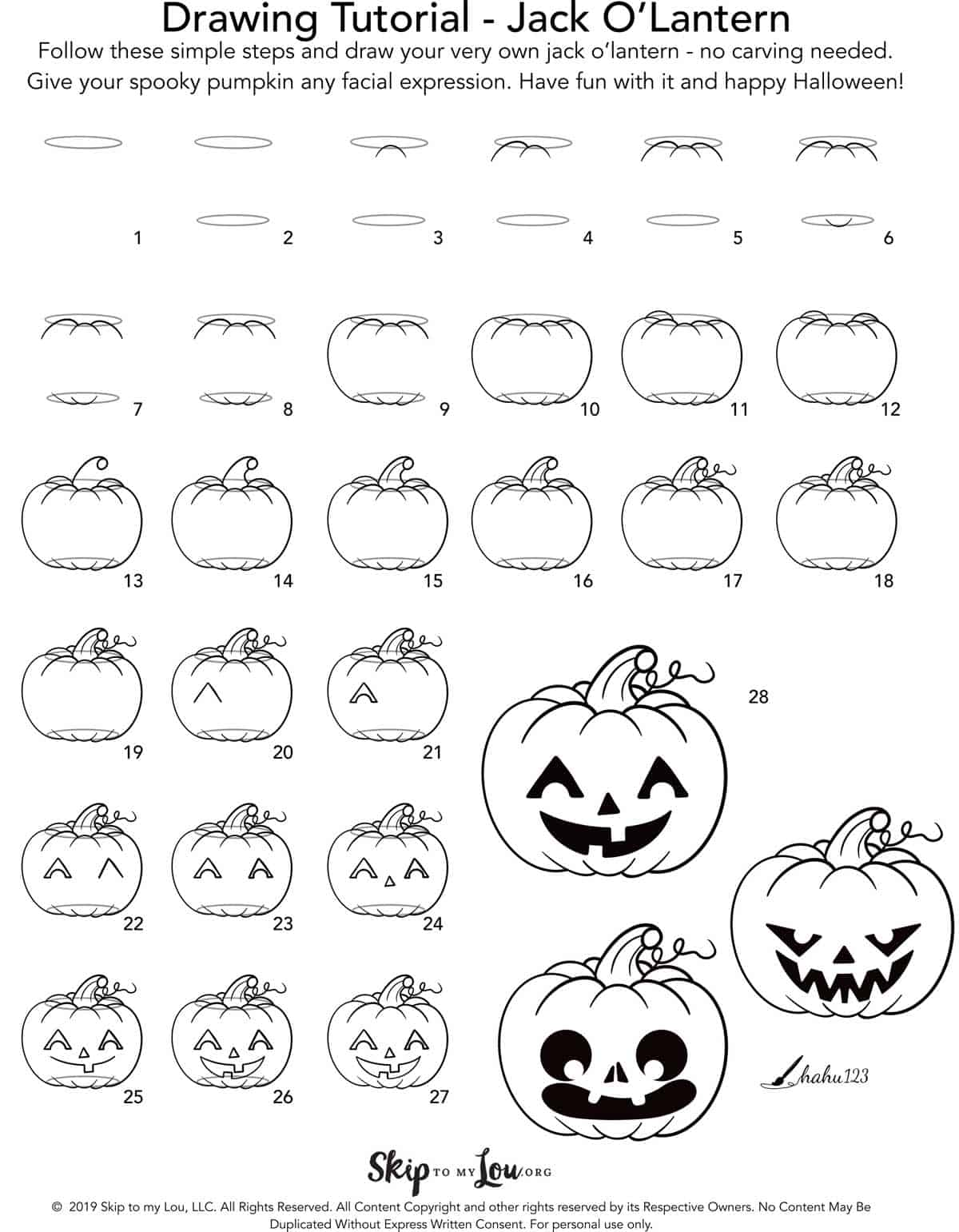 Easy Jack O Lantern Drawing Tutorial Skip To My Lou
