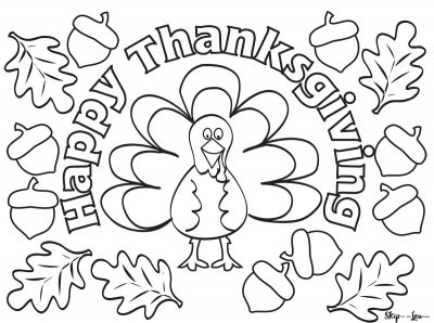 simple happy thanksgiving coloring sheet