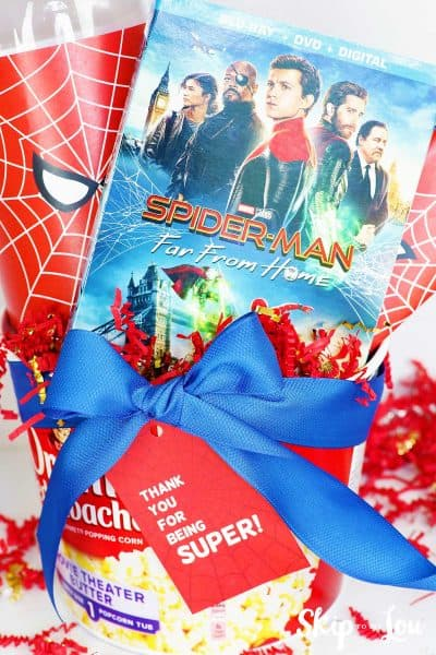 Spider Man movie gift in popcorn bucket