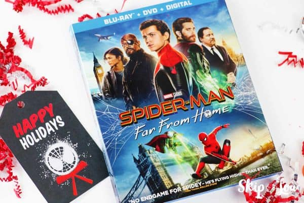 Spider Man Far From Home video and holiday gift tag