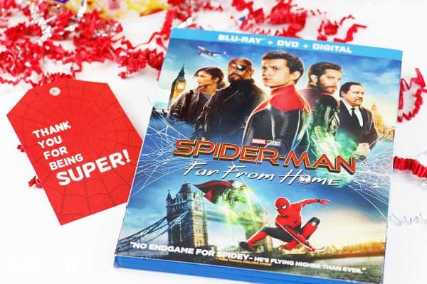 Spider Man Far From Home dvd with gift tag
