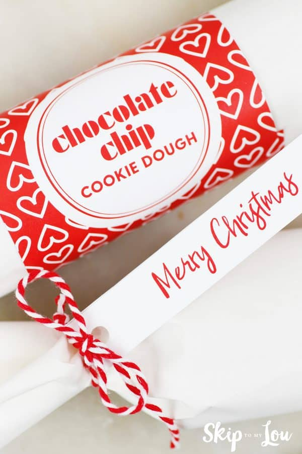 red and white chocolate chip cookie dough and Merry Christmas labels