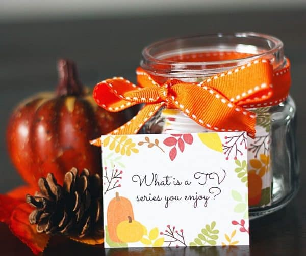 printable fall themed conversation starters and a jar in back