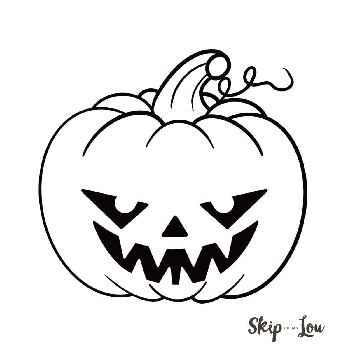 black and white drawing of scary jack o lantern