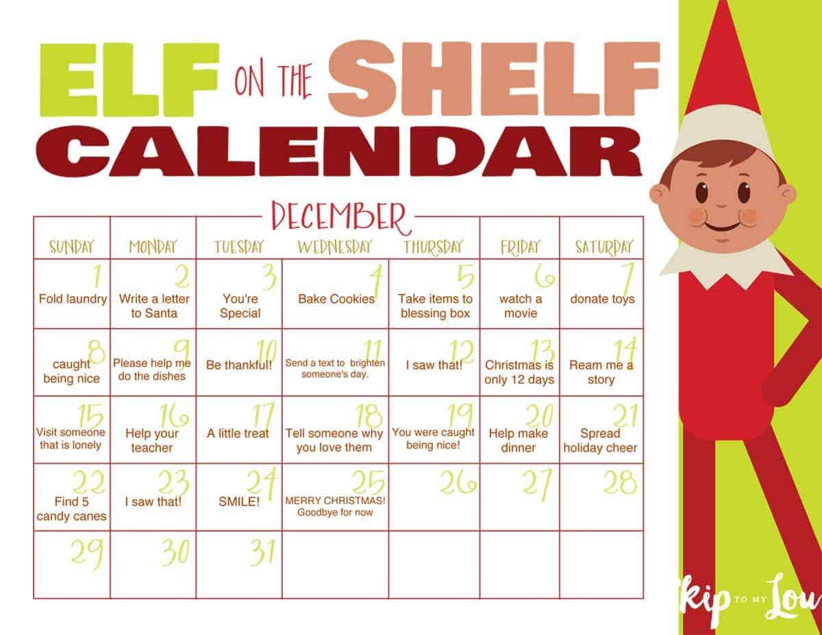 Elf On The Shelf Calendar 2021 FREE Printable Elf on the Shelf Calendar EDITABLE | Skip To My Lou