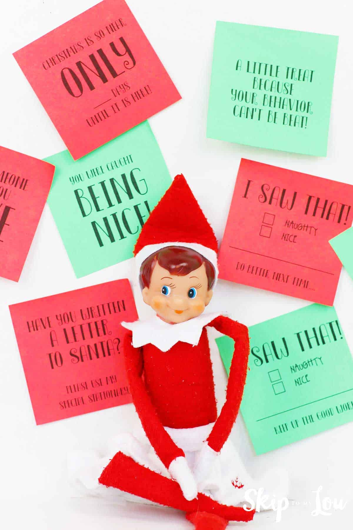 elf on the shelf with printable post it notes